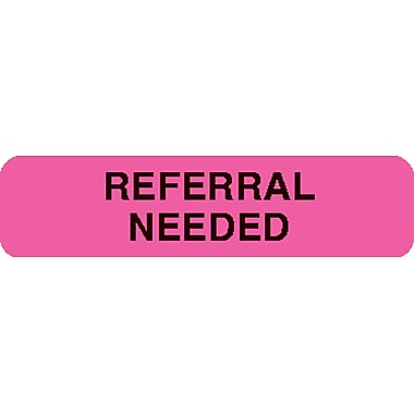 Insurance Chart File Medical Labels; Referral Needed, Fluorescent Pink, 5/16x1-1/4