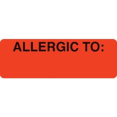 Allergy Warning Medical Labels; Allergic To:, Fluorescent Red, 1x3