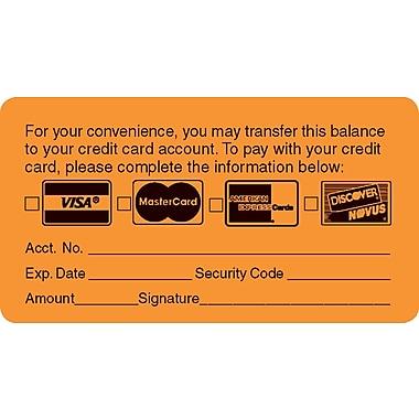 Reminder & Thank You Collection Labels; Transfer Balance, Fl Orange, 1-3/4x3-1/4