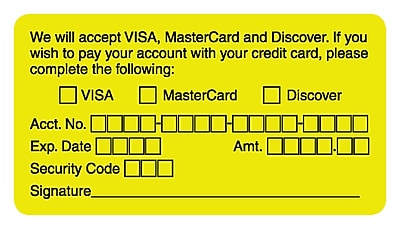 Reminder & Thank You Collection Labels; accept VISA/MC/Disc., Fl Chartreuse, 1-3/4x3-1/4