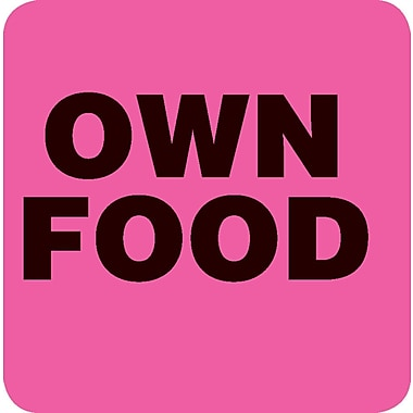 Small Shape Alert Pre-Printed Labels; Own Food, Fluorescent Pink, 1x1