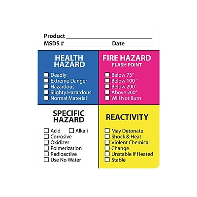 Hazard Communication Labels, Assorted Colors, 3.5 x 4 inch, 25 Labels