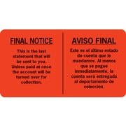 English/Spanish Collection Pre-Printed Labels, Final Notice, 1.75 x 3.25 inch, 500 Labels