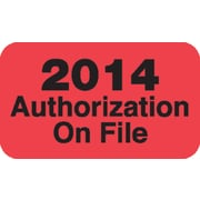 """Patient Record Labels, Fluorescent Red, Large """"2014 Authorizations On File"""""""