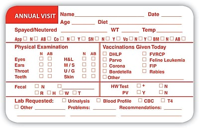 Veterinary Examination Medical Labels, Annual Visit, Red and White, 2.5 x 4 inch, 100 Labels