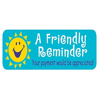 Soft Collection Pre-Printed Labels, Friendly Reminder, 0.75 x 2.5 inch, 300 Labels