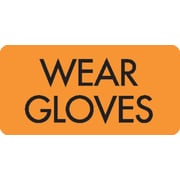 IV/Medication Labels, Wear Gloves, Orange, 1.5 x 0.875 inch, 500 Labels