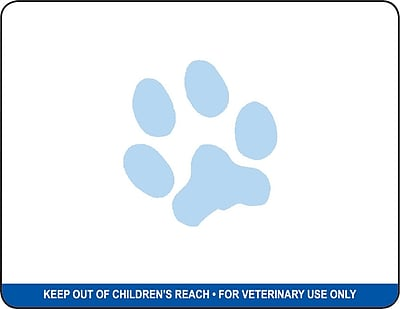 Veterinary Thermal Prescription Labels, Blue Bar Warning w/Paw Logo, 2.75 inch x 2.125 inch, 500 Labels
