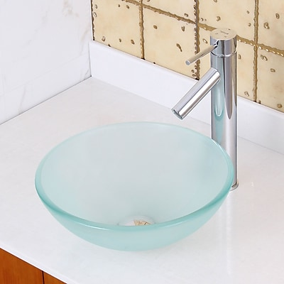 Elite Double Layered Tempered Glass Circular Vessel Bathroom Sink; Chrome