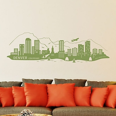 Style and Apply Denver Skyline Wall Decal; Silver