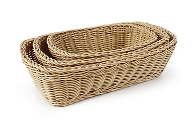 Neoflam Plasket 3-Piece Poly-Wicker Rectangle Basket Set; Light Brown