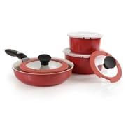 Neoflam Midas Plus 9 Piece Cast Aluminum Cookware Set; Sunrise Red
