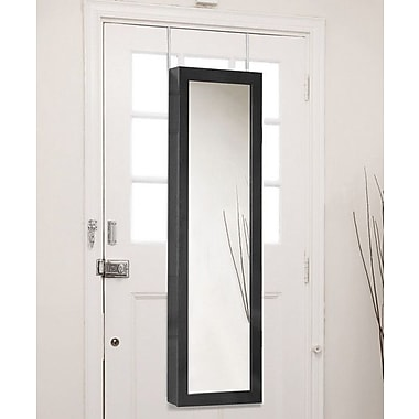 Wholesale Interiors Baxton Studio Reflections Over the Door Jewelry Armoire w/ Mirror; Black