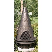 The Blue Rooster Garden Style Aluminum Wood Burning Chiminea; Gold Accent