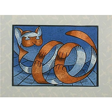 Novica Surrealist Roly-Poly Tiger Cat by Ricardo Siccuro Graphic Art Print on Wrapped Canvas