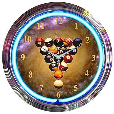 Neonetics Bar and Game Room 15'' Billiards Space Balls Wall Clock