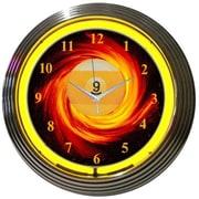 Neonetics Bar and Game Room 15'' Billiards 9 Ball Fire Wall Clock