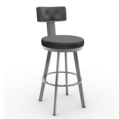 Amisco Tower 26.25'' Swivel Bar Stool; Glossy Grey/Matte Charcoal Black