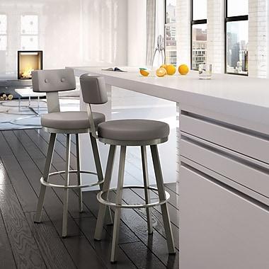 Amisco Tower 30.25'' Swivel Bar Stool; Matte Light Grey/Warm Grey