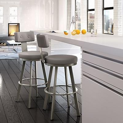 Amisco Tower 26.25'' Swivel Bar Stool; Matte Light Grey/Warm Grey