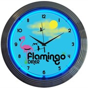 Neonetics Retro 15'' Flamingo Diner Wall Clock