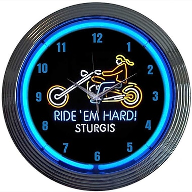 Neonetics Cars and Motorcycles 15'' Ride Em Hard Sturgis Wall Clock