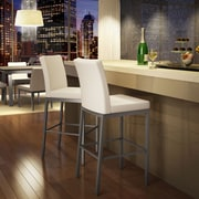 Amisco Perry 30.25'' Bar Stool; Glossy Grey/Beige