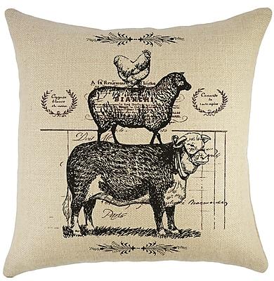 TheWatsonShop Cow Sheep Chicken Burlap Throw Pillow