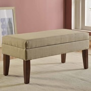 HomePop Upholstered Storage Bench; Tan