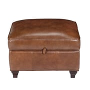 Opulence Home Pablo Leather Storage Ottoman; Fedora Chestnut