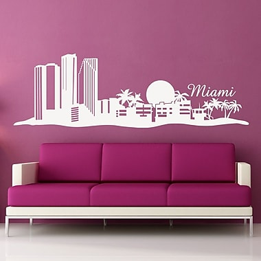 Style and Apply Miami Skyline Wall Decal; Pink