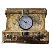 Quickway Imports Small Old World Map Suitcase Clock