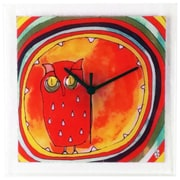 River City Clocks Square Glass Art Clock w/ Owl