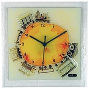 River City Clocks Square Glass Art Clock w/ Train