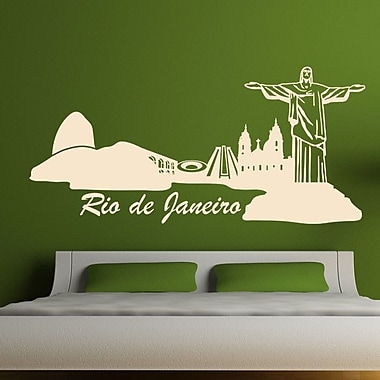 Style and Apply Rio de Janeiro Skyline Wall Decal; Pink