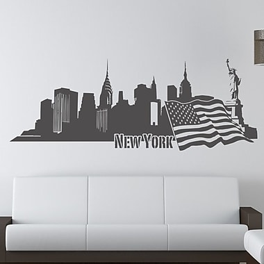 Style and Apply New York II Skyline Wall Decal; Silver