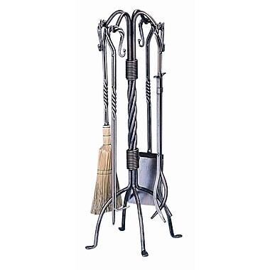 Uniflame 4 Piece Copper Triple Twist Rod Fire Tool Set w/ Stand
