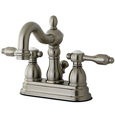 Kingston Brass Tudor Centerset Bathroom Faucet w/ ABS Pop-Up; Satin Nickel