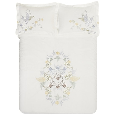 Simple Luxury Hyacinth 3 Piece Embroidered Reversible Duvet Set; Full/Queen
