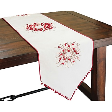 Xia Home Fashions Holiday Berry Wreath Runner; 54'' W x 16'' L