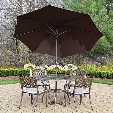 Oakland Living Mississippi 5 Piece Dining Set w/ Cushions; Brown