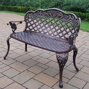 Oakland Living Rose Cast Iron and Aluminum Bench