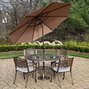 Oakland Living Mississippi 5 Piece Dining Set w/ Cushions; Champagne