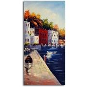 Omax Decor Fishing Village Morning' Painting on Canvas