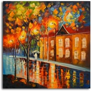 Omax Decor Reflections in Night's Colors' Painting on Canvas