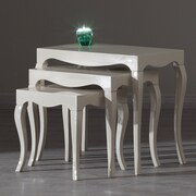 La Viola D cor Victor 3 Piece Nesting Table; White Lacquer