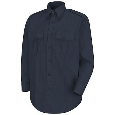 Horace Small Men's New Dimension Stretch Poplin Long Sleeve Shirt 18 x 34, Dark navy