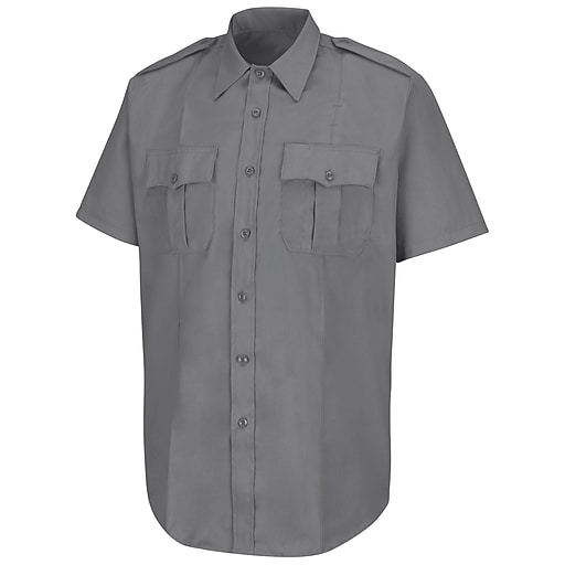 Horace Small Men's New Dimension Stretch Poplin Short Sleeve Shirt SS x 185, Grey