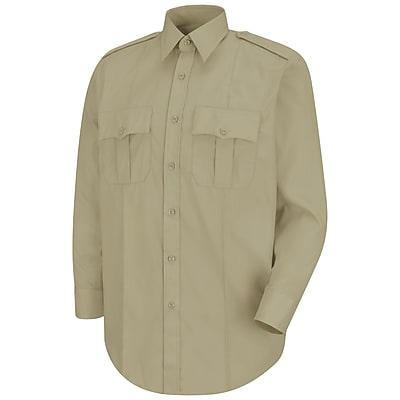 Horace Small Men's New Dimension Stretch Poplin Long Sleeve Shirt 175 x 34, Silver tan