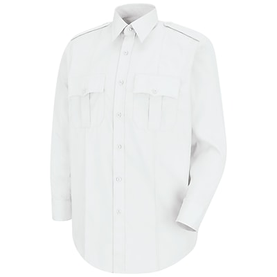 Horace Small Men's New Dimension Stretch Poplin Long Sleeve Shirt 175 x 35, White